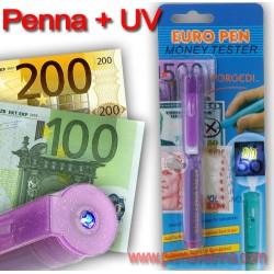 Penna tester rilevatore banconote false +  luce UV