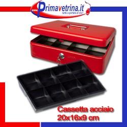 Cassetta portavalori di sicurezza in acciaio 20x16x9 cm