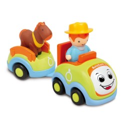 Automobilina prima infanzia Baby Farmer con rimorchio ed animale assortito